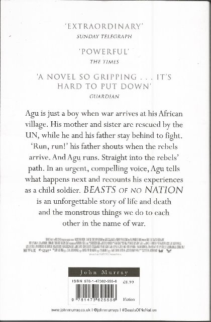 Back cover of Beasts Of No Nation by Uzodinma Iweala