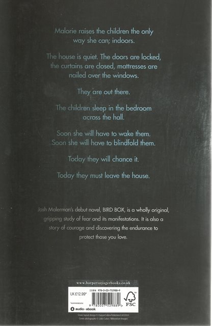 Back cover of Bird Box by Josh Malerman