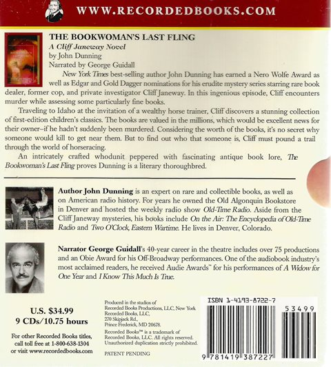 Back cover of The Bookwoman's Last Fling (CD) by John Dunning