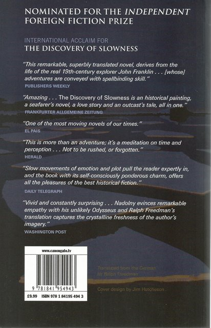 Back cover of The Discovery of Slowness by Sten Nadolny