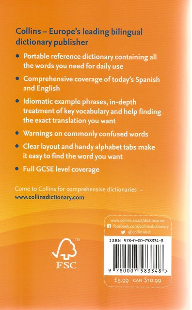 Back cover of Collins Essential Spanish Dictionary