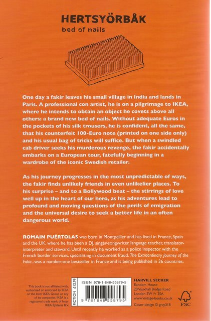 Back cover of The Extraordinary Journey of the Fakir who got Trapped in an Ikea Wardrobe by Romain Puertolas
