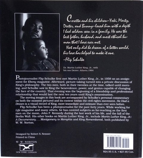 Back cover of He Had a Dream by Flip Schulke
