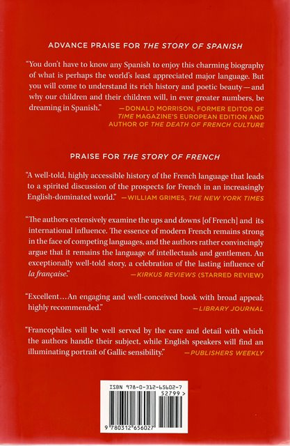 Back cover of The Story of Spanish by Jean-Benoit Nadeau and Julie Barlow