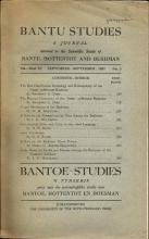 Front Cover of  Bantu Studies September 1937, Vol XI no. 3 by J. D. R Jones & C. M Doke