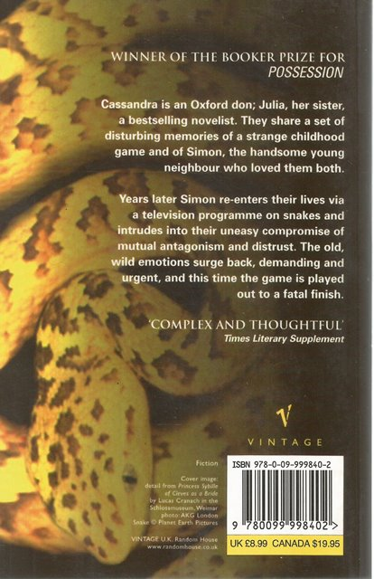 Back cover of The Game by A S Byatt